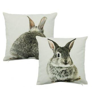 dubbelzijdig grijs canvas kussen met een konijntje