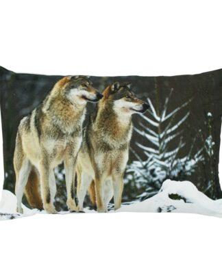 canvas kussen wolf