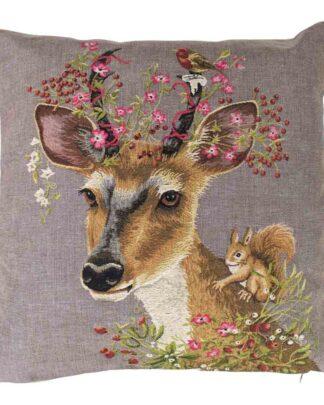 Sierlijk gobelin kussen met ree en bosdieren.