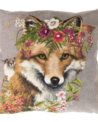 sierlijk gobelin kussen met een opdruk van een vos met bloemen.