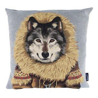 Gobelin sierkussen Wolf met jas