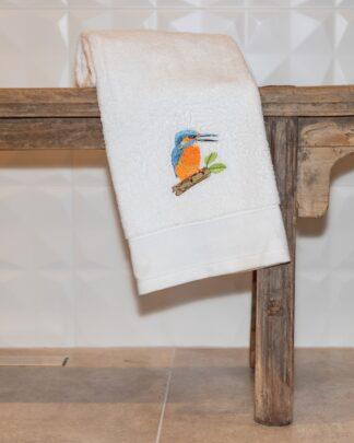 geborduurde handdoek ijsvogel