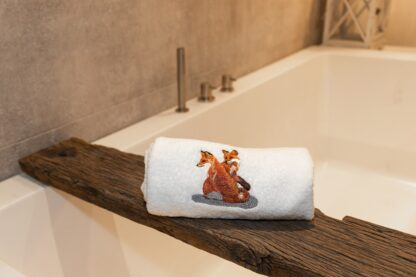geborduurde handdoek vos