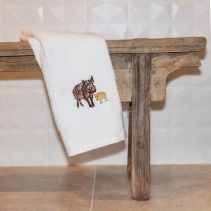 geborduurde handdoek wild zwijn